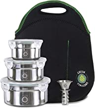 Leakproof Stainless Steel Lunchbox Set. 3 Stackable Metal Containers & Thermal Bag. Men Women Girl Boy. Keep Food Warm. Cool Salad. Work & School. Leak Proof Storage. Large & Small Tins. 2 BONUSES.