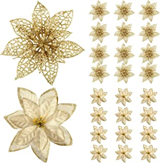 Gejoy 24 Pack Glitter Poinsettia Christmas Tree Ornaments Gold Artificial Christmas Flowers for Christmas New Year Wedding Party Floral Decorations