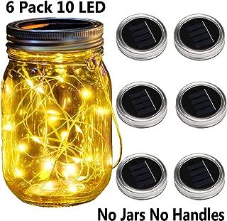KZOBYD 6 Pack Mason Jar Lid Solar Waterproof Fairy Starry Firefly Lights for Regular Mouth Mason Jar Lantern on Patio Yard Pathway Festivals Home Decor (6, Warm White 10LED)