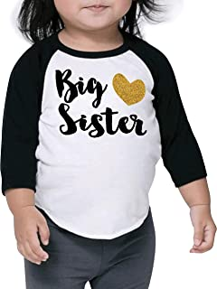 Baby Girl Outfit Big Sister Shirt Pregnancy Announcement Photo Prop (18-24 Months Black Sleeves)