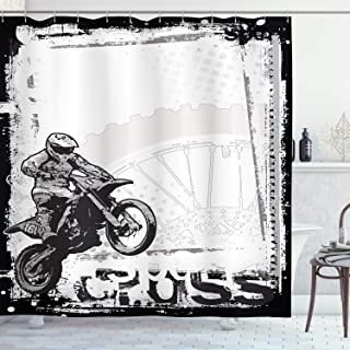 Ambesonne Motorcycle Shower Curtain, Motocross Racer Image Grungy Background Poster Style Monochromic Artwork Print, Cloth Fabric Bathroom Decor Set with Hooks, 70