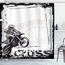 Ambesonne Motorcycle Decor Shower Curtain Set, Motocross Racer Image on Grungy Background Poster Style Monochromic Artwork...