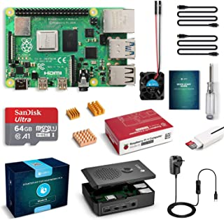 LABISTS Raspberry Pi 4 Complete Starter Kit with Pi 4 Model B 4GB RAM Board, 64GB Micro SD Card Preloaded Noobs, 5V 3A Pow...
