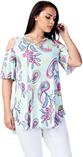 Allora Betsy Red Couture Women's Cold Shoulder Soft Knit Tunic Top (S-3X)