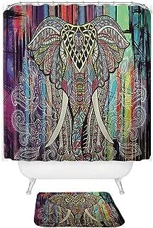 Heroic spirit Shower Curtain Elephant Printed Waterproof Polyester Coral Velvet Anti-Slip Bath Mat Set with 12 Hooks,007,180x180cm Curtain