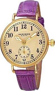 Akribos XXIV AK828 Ador Womens Casual Watch - Engraved Sunburst Lines Dial - Quartz Movement - Leather Strap