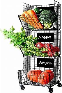 Paniers à Légumes à Fruits Suspendus à 3 Niveaux Avec Roue-5 Crochets en S, Tableaux Noirs Amovibles,Parfait pour La Cuisi...