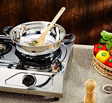 Whopper Woks and Stir Fry Pans, Heat Resistent Stainless Steel Nonstick Frying Wok Flat Bottom, Induction & Gas Stove Fri