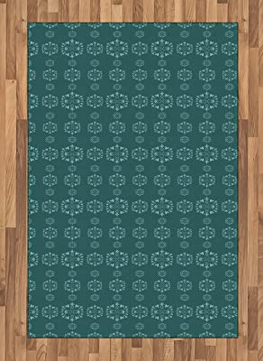 lunarable retro area rug victorian style inspired floral ornamental design with curvy stems and leaves