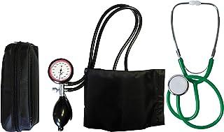TIGA-MED - Tensiómetro de brazo con 2 tubos y estetoscopio de cabeza plana verde (1 juego = 2 artículos)