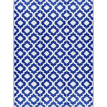 BalajeesUSA Outdoor Patio Rugs clearance 9'x12' (274 cm x 365 cm) Blue n White 4484