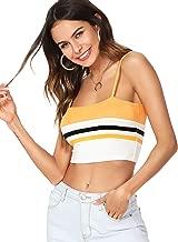 Romwe Women's Sexy Stretch Spaghetti Strap Striped Crop Cami Tank Top