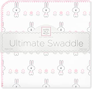 SwaddleDesigns Ultimate Swaddle, X-Large Receiving Blanket, Made in USA Premium Cotton Flannel, Pastel Pink Garden Bunnie (Mom's Choice Award Winner)