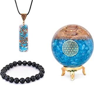 ORGONITE CRYSTAL BALL WITH STAND   4 IN 1 ORGONITE EMF PROTECTION NECKLACE, BLACK TOURMALINE BRACELET, AND CRYSTAL HOLDER ...