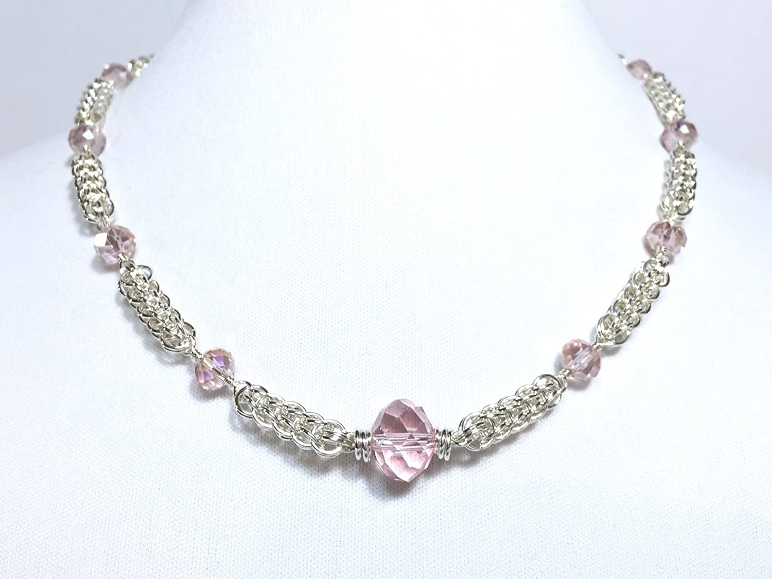 Sterling Silver Mail order Persian Chainmaille Super beauty product restock quality top! Beaded Necklace Cr with Rose