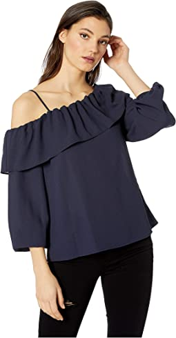 Long Sleeve One Shoulder Ruffle Edge Blouse