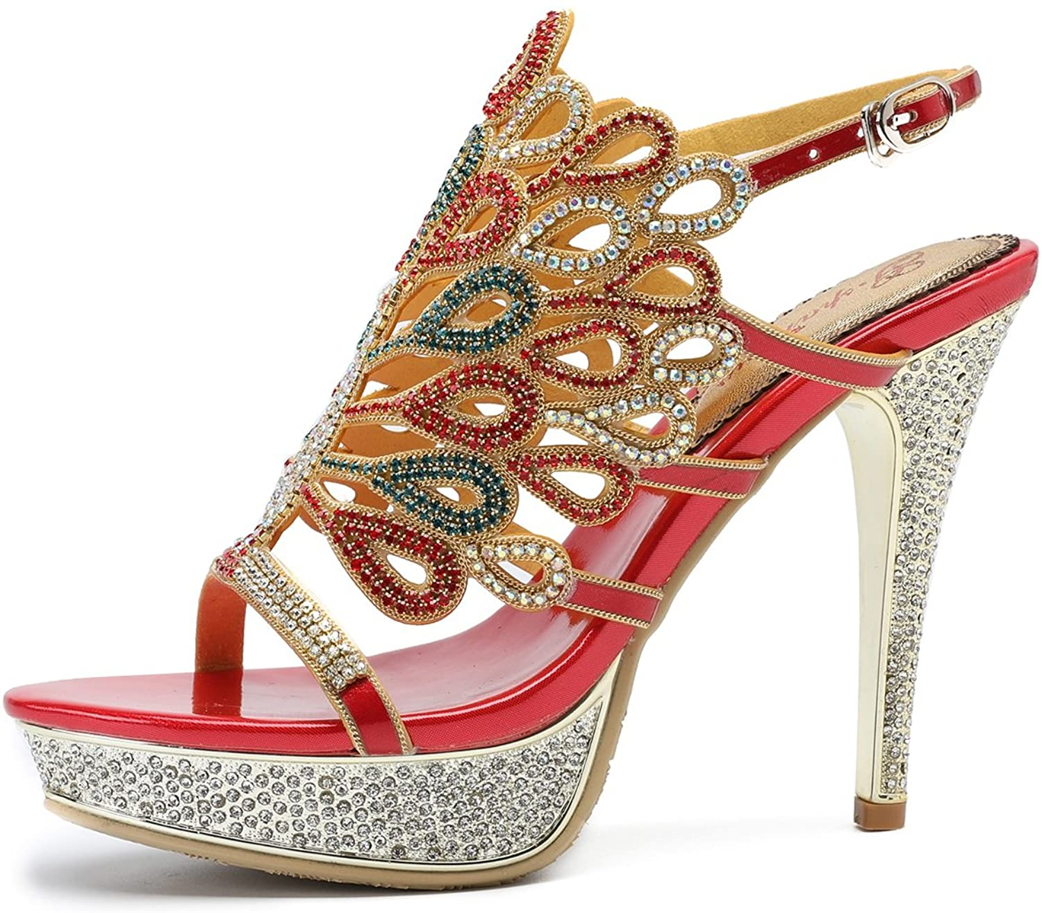 Women's shoes Rhinestone Leather Summer Fall Comfort Sandals Stiletto Heel Peep Toe for Wedding Party & Evening Red