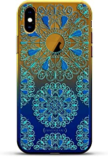 ORNAMENT: TURQUOISE & BLUE MANDALAS WITH APPLE LOGO CIRCLE | Luxendary Gradient Series Clear Ultra Thin Silicone Case for iPhone Xs Max (6.5