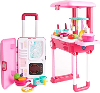 Toy Chef 2-in-1 Travel Suitcase Kitchen Set for Children   Includes Toy Pots, Pans, Dishes, Utensils & Foods ABS Plastic Pretend Play Kit for Boys & Girls (Pink)