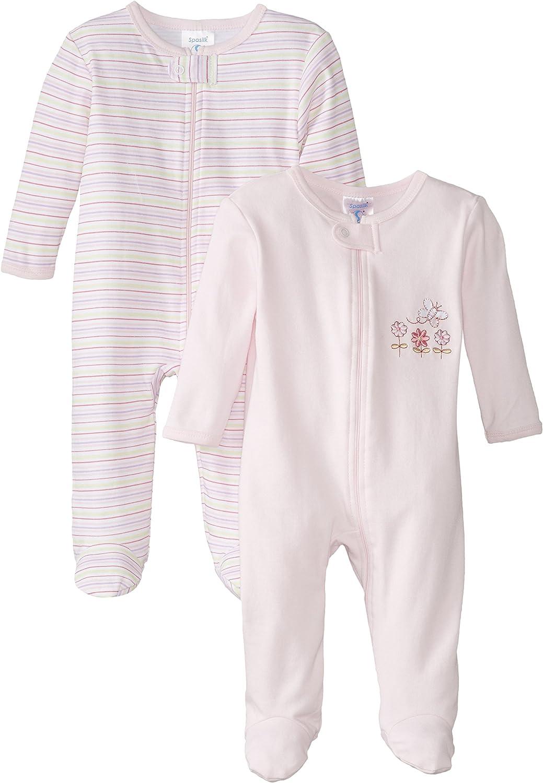 Spasilk Baby-Girls 100% Cotton Newborn 2 Pack Sleepwear Footie Set