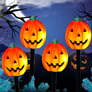 WATERGLIDE Halloween Decorations, 4 Pack Lighted Plastic Jack-o-Lantern Stakes, Light Up Pumpkins with 20-Count Incandescent Light, Haunted House Figurine Holiday Party Indoor Outdoor Decor