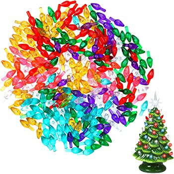 Tatuo 200 Pieces Ceramic Christmas Tree Ornaments Multi Color Plastic Light Decorations for Christmas Trees Lights Shape
