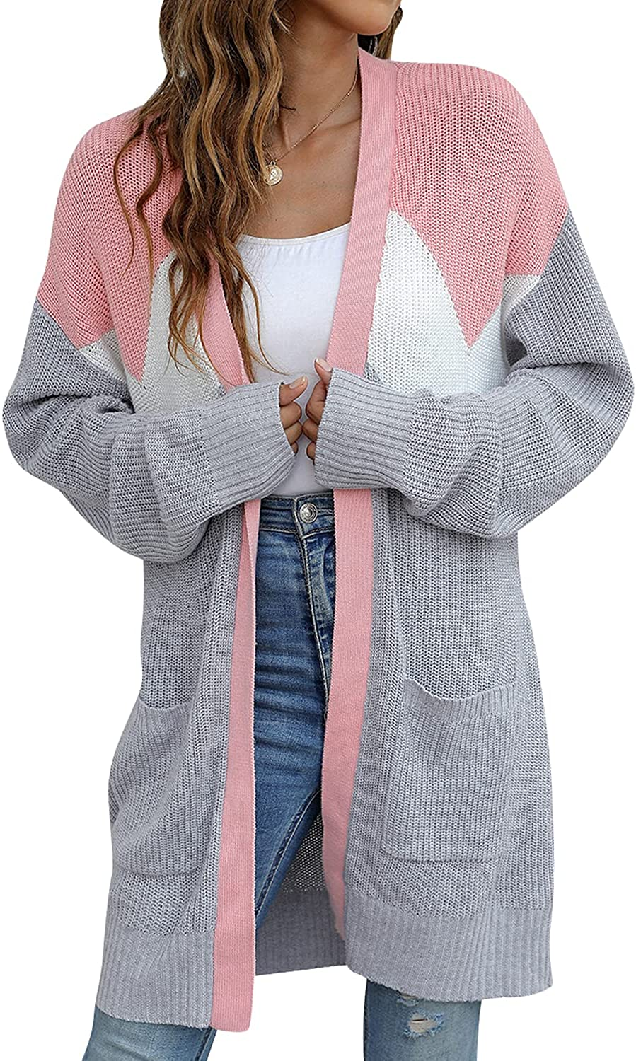 BMJL Women's Chunky Long Cardigans Color Block Oversized Batwing Cable Knit Sweaters Coats with Pockets