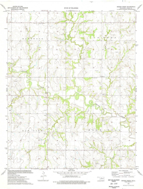 Bridge Creek OK topo map, 1 24000 Scale, 7.5 X 7.5 Minute, Historical, 1974, Updated 1977, 27.3 x 22.4 in