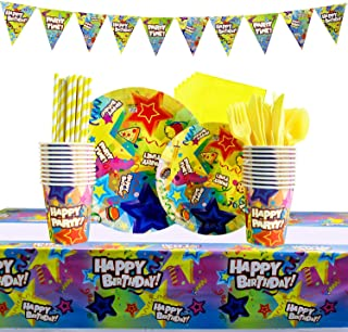 HappyNotes kids' Party Tableware, Birthday Party Supplies Set Decoration with 162 Piece Straws Utensils, Table Knives, Forks, Spoons, Disposable Cups, Napkins, Plates Bonus Banner, Table Cover - Serves 20