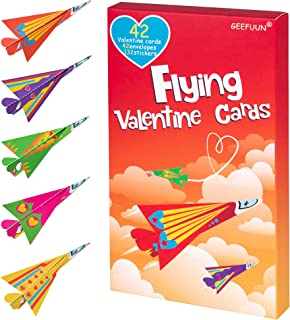 Geefuun Valentine's Day Cards for Kids - 42 Paper Airplane Cards + 42 Envelopes+ 132 Stickers Heart Crafts School Classroo...