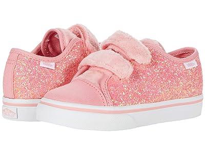 Vans Kids Style 23 V (Infant/Toddler) ((Faux Fur Glitter) Flamingo Pink/True White) Girls Shoes