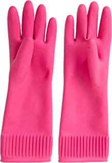 Mamison Reusable Waterproof Household Dishwashing Cleaning Rubber Gloves, Non-Slip Kitchen Glove(Medium)-Pack of 2