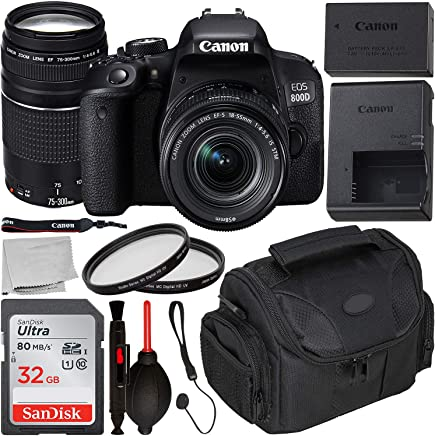 $679 Get Canon EOS 800D DSLR Camera with 18-55mm is STM & 75-300mm III Lens & Starter Accessory Bundle – Includes: SanDisk Ultra 32GB SDHC Memory Card + Camera Carrying Case + 2X Ultraviolet Filter + More