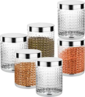 Sky Hector Celebration 6 Pcs Storage Pet Container Gift Set for Kitchen,1850 ml x 6 Pcs,Silver.