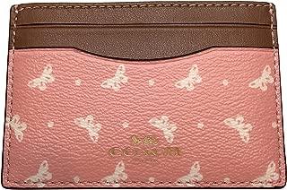 Coach PVC Butterfly Dot Card Case Blush Chalk F59787