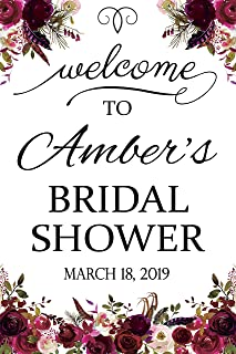 Marsala Floral Bridal Shower Sign, Welcome Sign, Flowers Decor, Marsala Flowers, Wedding Shower Gifts, Bridal Shower Banners and Signs, Bachelorette Party, Party Supply Poster Print 24x36, 24x18