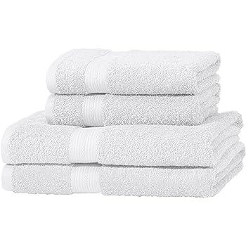 AmazonBasics - Juego de toallas (colores resistentes, 2 toallas de baño y 2 toallas de manos), color blanco: Amazon.es: Hogar