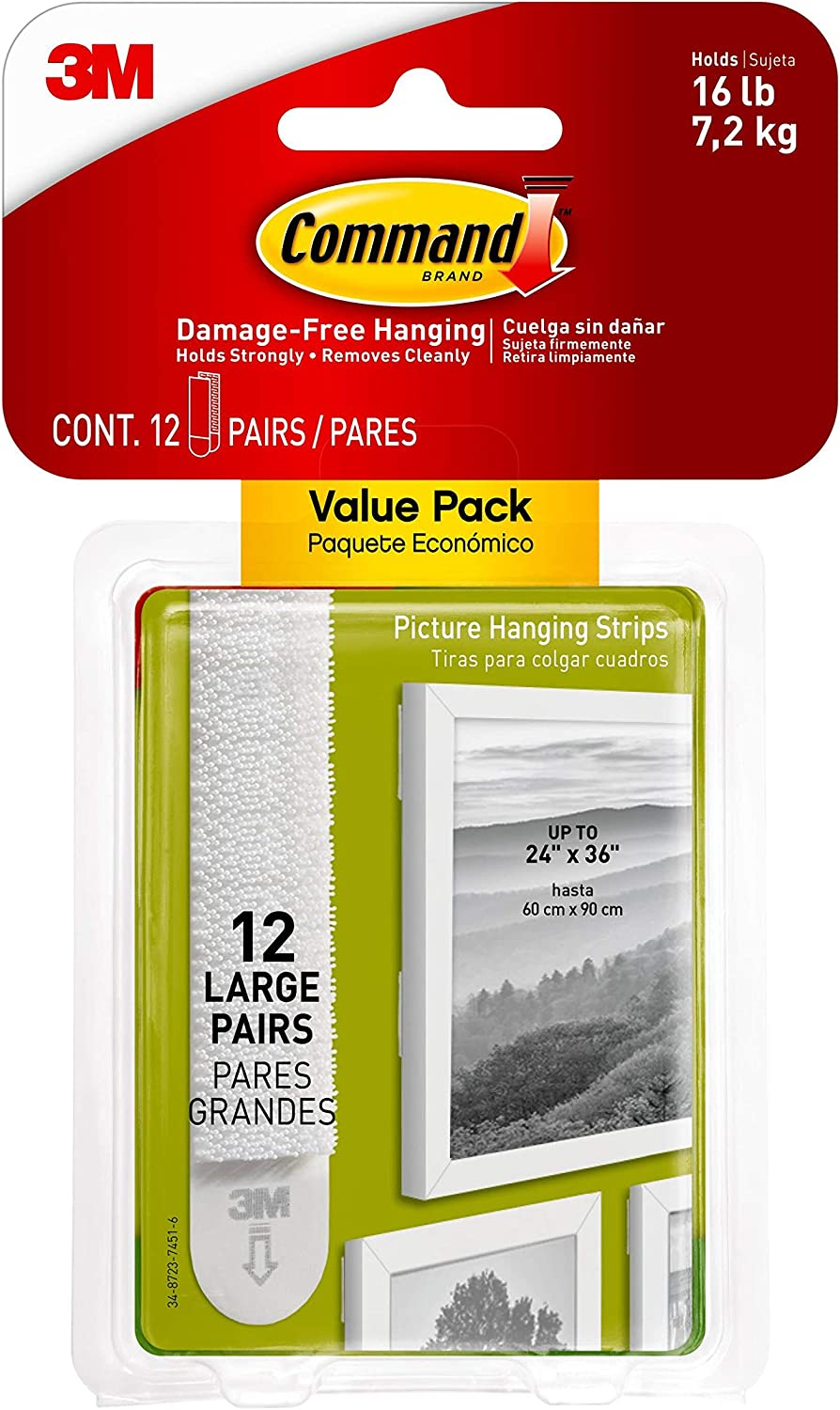 Command Max 48% OFF Free Shipping Cheap Bargain Gift 17206-12ES 3M Large Photo Hangers or Str Tools Holes No