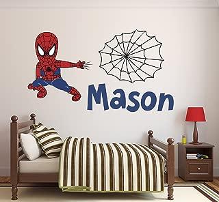 Pinkie Penguin Custom Name Spiderman Wall Decal Baby Boy Kids Decor Personalized Nursery Gift Vinyl Art (32