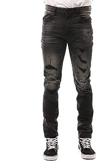 Slim Fit Rip and Repair Jeans Gotham Black