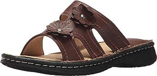 صنادل AdTec للنساء، حذاء مريح مفتوح الإصبع مصمم بدون رباط، مخيط يدويًا بنعل مطاطي في أي مناسبة، بني، 6 M US
