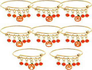 MMIRACULOUS GARDEN Halloween Pumpkin Crystal Expandable Stainless Steel Charm Bracelet Holiday Jewelry Set Gift for Women...