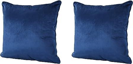 GDFStudio 301585 Velvin New Velvet Throw Pillow (Set of 2) (Navy Blue), 15.00 x 15.00