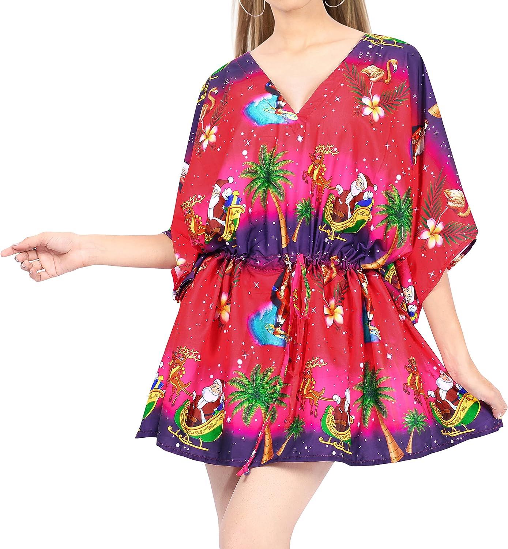 LA LEELA Women's Santa Claus Tropical Short Swimsuit Cover-Up Beach Tunic Dress