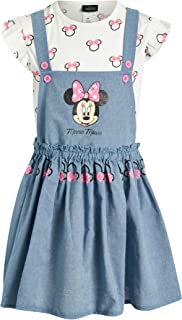 Disney Girl's Casual Dress - 2 Piece Minnie Mouse Jumper Set with Ruffled Short Sleeve T-Shirt