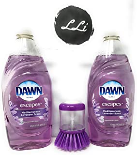 Dawn Liquid Dishwashing Soap Bundle: Dawn Ultra Escapes, Choice of Scents and Sizes, Two Bottles with LLi Soap Dispensing Scrub Brush (assorted colors) (Mediterranean Lavender, 19.4)