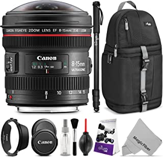 Canon EF 8-15mm f/4L Fisheye USM Ultra-Wide Zoom Lens with Altura Photo Essential Accessory and Travel Bundle