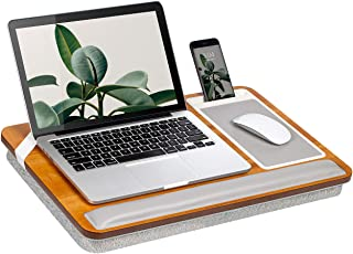 Rossie Home Premium Acacia Lap Desk with Wrist Rest, Mouse Pad, and Phone Holder - Fits Up to 15.6 Inch Laptops - Natural...