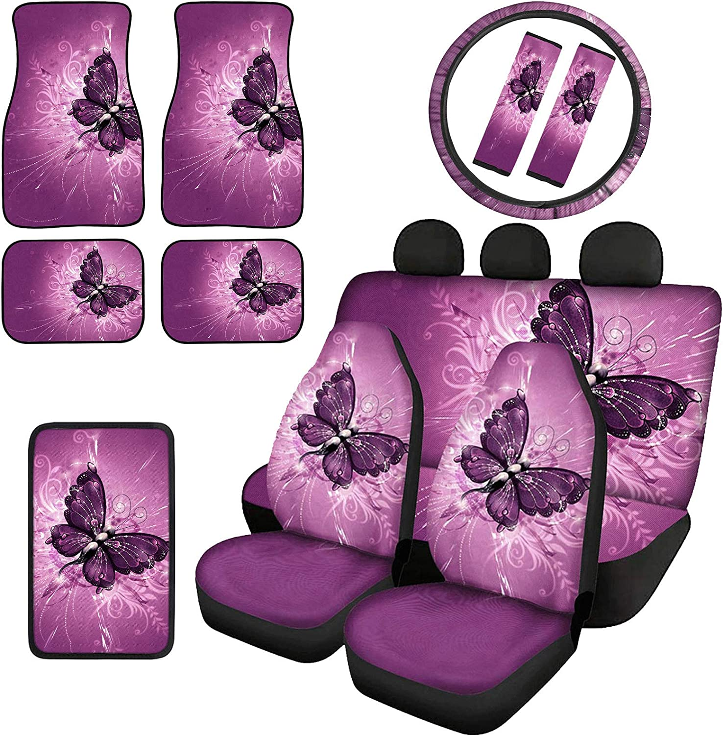 COEQINE Butterfly Super beauty product restock Fashionable quality top Print Car Seat Covers Full for Set Women Anti-