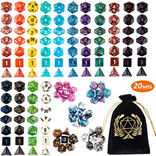DND Dice Set , 20 x 7 (140 Pieces) Polyhedron Dice 20 Colors Dice for Dungeons and Dragons DND RPG MTG Table Games D4 D8 D10 D12 D20 with 1 Large Flannel Bag